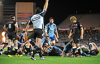 Referee Steve Walsh signals a try to Blues prop Tony Woodcock during the Super 15 rugby match between the Blues and the Sharks at Eden Park, Auckland, New Zealand on Friday, 13 April 2012. Photo: Dave Lintott / lintottphoto.co.nz