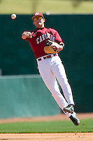 South Carolina shortstop Reese Havens (6) makes an off-balance throw to first base versus LSU at Sarge Frye Stadium in Columbia, SC, Thursday, March 18, 2007.