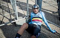 Shari Bossuyt (BEL/NXTG Racing) completely spent post-finish<br /> <br /> Mixed Relay TTT <br /> Team Time Trial from Knokke-Heist to Bruges (44.5km)<br /> <br /> UCI Road World Championships - Flanders Belgium 2021<br /> <br /> ©kramon