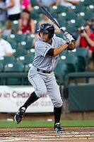 Omaha Storm Chasers designated hitter Anthony Seratelli #2 at bat during the Pacific Coast League baseball game against the Round Rock Express on July 20, 2012 at the Dell Diamond in Round Rock, Texas. The Chasers defeated the Express 10-4. (Andrew Woolley/Four Seam Images).