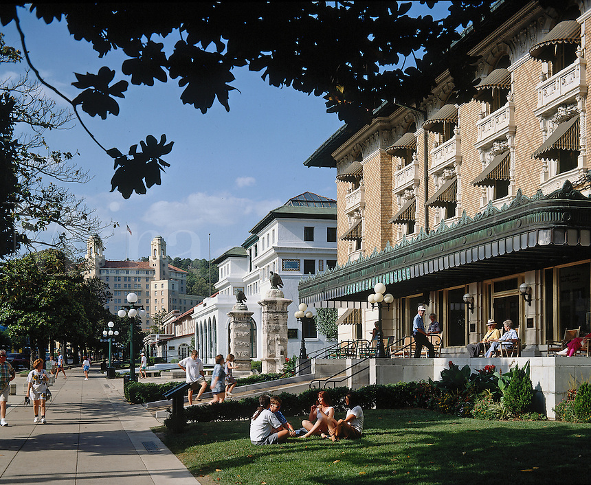 Tourists and residents mix along famous Bathhouse Row in Hot Springs National Park, AR. Hot Springs, Arkansas.