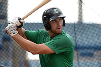 Daytona Tortugas third baseman Taylor Sparks (12) in the batting cage during practice before a game against the Tampa Yankees on April 24, 2015 at George M. Steinbrenner Field in Tampa, Florida.  Tampa defeated Daytona 12-7.  (Mike Janes/Four Seam Images)