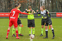 Maurane Marinucci (7) of Standard , assistant referee Romain Delree , referee Sylvie Deckers , assistant referee Geoffrey Quaranta and Chloe Van Mingeroet (17) of Eendracht Aalst pictured before a female soccer game between Standard Femina de Liege and Eendracht Aalst on the 12 th matchday of the 2020 - 2021 season of Belgian Scooore Womens Super League , saturday 30 th of January 2021 in Angleur , Belgium . PHOTO SPORTPIX.BE   SPP   STIJN AUDOOREN