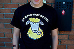 Newport County 1 Exeter City 1, 16/03/2014. Rodney Parade, League Two. Newport County finally return to the Football league after years of turmoil but a poor run of results has dented hopes of reaching the play-offs while Exeter City battle relegation. Newport County supporter with a sheep on his T-Shirt. Photo by Simon Gill