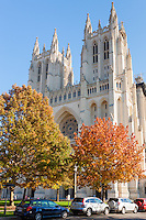 Washington National Cathedral on a bright fall day in Washington, DC.