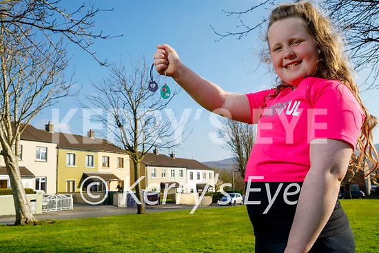 8 year old Grace Roche from Ashgrove  Tralee, who during lockdown made jewellery and sold it and raised €425.00 for The Little Blue Heroes charity,