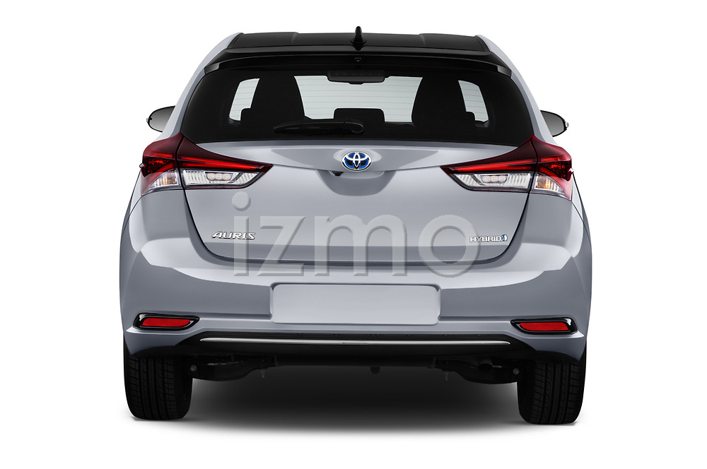 Straight rear view of a 2018 Toyota Auris Hybrid Black Edition 5 Door Hatchback stock images