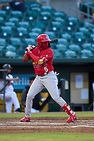 Palm Beach Cardinals Franklin Soto (5) bats during a game against the Jupiter Hammerheads on May 11, 2021 at Roger Dean Chevrolet Stadium in Jupiter, Florida.  (Mike Janes/Four Seam Images)