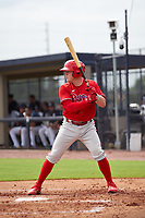 FCL Phillies Mitchell Edwards (18) bats during a game against the FCL Phillies on July 6, 2021 at the Yankees Minor League Complex in Tampa, Florida.  (Mike Janes/Four Seam Images)