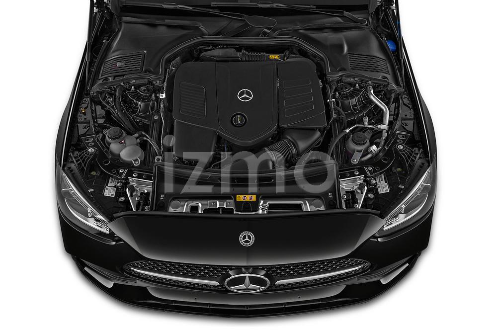Car Stock 2022 Mercedes Benz C-Class AMG-Line 4 Door Sedan Engine  high angle detail view