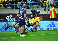 Hurricanes' Dane Coles scores during the Super Rugby Tran-Tasman match between the Hurricanes and Reds at Sky Stadium in Wellington, New Zealand on Friday, 11 June 2020. Photo: Dave Lintott / lintottphoto.co.nz