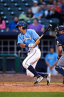 NW Arkansas Naturals second baseman Kenny Diekroeger (8) at bat during a game against the San Antonio Missions on May 30, 2015 at Arvest Ballpark in Springdale, Arkansas.  San Antonio defeated NW Arkansas 5-2.  (Mike Janes/Four Seam Images)