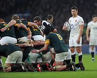 Ben Youngs of England prepares to put the ball into a scrum during the Old Mutual Wealth Series match between England and South Africa at Twickenham Stadium on Saturday 12th November 2016 (Photo by Rob Munro)
