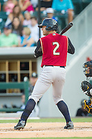 Austin Romine (2) of the Scranton/Wilkes-Barre RailRiders at bat against the Charlotte Knights at BB&T Ballpark on July 17, 2014 in Charlotte, North Carolina.  The Knights defeated the RailRiders 9-5.  (Brian Westerholt/Four Seam Images)