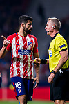 Diego Costa of Atletico de Madrid speaks to referee Jakob Kehlet during the UEFA Europa League 2017-18 Round of 16 (1st leg) match between Atletico de Madrid and FC Lokomotiv Moscow at Wanda Metropolitano  on March 08 2018 in Madrid, Spain. Photo by Diego Souto / Power Sport Images