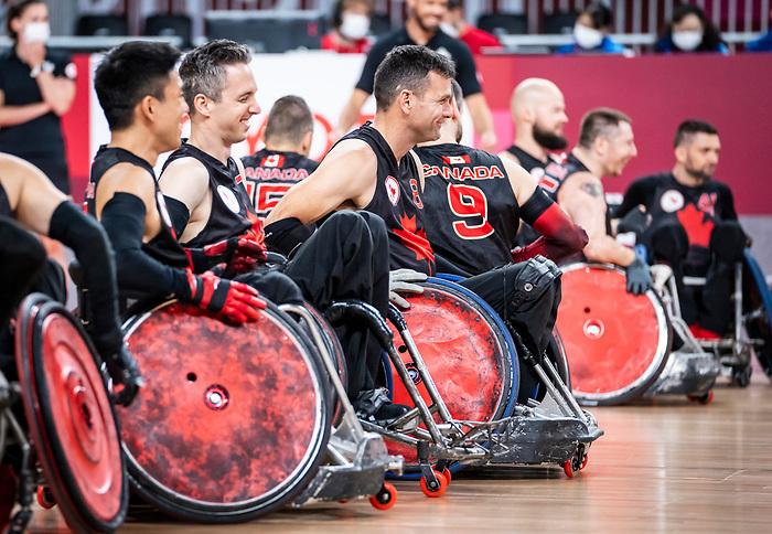 Tokyo 2020 - Wheelchair Rugby // Rugby en fauteuil roulant.<br /> Canada takes on The USA in the preliminary round // Le Canada affronte Les Etats-Unis d'Amérique au tour préliminaire. 26/08/2021.