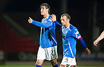 St Johnstone v Livingston...24.08.11   Scottish Communities League Cup Round 2.Thumbs up from Francisco Sandaza and a pat on the back from Jody Morris.Picture by Graeme Hart..Copyright Perthshire Picture Agency.Tel: 01738 623350  Mobile: 07990 594431