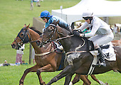 Wazee Moto (white) and G'day G'day fight to the finish in the Isabel DuPont Sharp Memorial Timber Allowance at Winterthur.