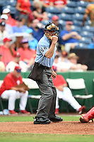 Umpire Dan Iassogna during a Spring Training game between the New York Yankees and Philadelphia Phillies on March 27, 2015 at Bright House Field in Clearwater, Florida.  New York defeated Philadelphia 10-0.  (Mike Janes/Four Seam Images)