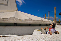 Spanien, Barcelona, Torre de Telecomunicationes  auf dem Olympiagelände des Montjuic, erbaut von Santiago Calatrava