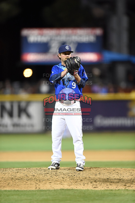 ***Temporary Unedited Reference File***Corpus Christi Hooks relief pitcher Brendan McCurry (9) during a game against the Frisco RoughRiders on April 23, 2016 at Whataburger Field in Corpus Christi, Texas.  Corpus Christi defeated Frisco 3-2.  (Mike Janes/Four Seam Images)