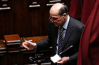 Il deputato Pierluigi Bersani vota durante la seduta comune di deputati e senatori per l'elezione del nuovo Presidente della Repubblica, alla Camera dei Deputati, Roma, 29 gennaio 2015.<br /> Italian deputy Pierluigi Bersani votes during a joint plenary session of senators and deputies to vote for the election of the new President, at the Lower Chamber, Rome, 29 January 2015.<br /> UPDATE IMAGES PRESS/Riccardo De Luca