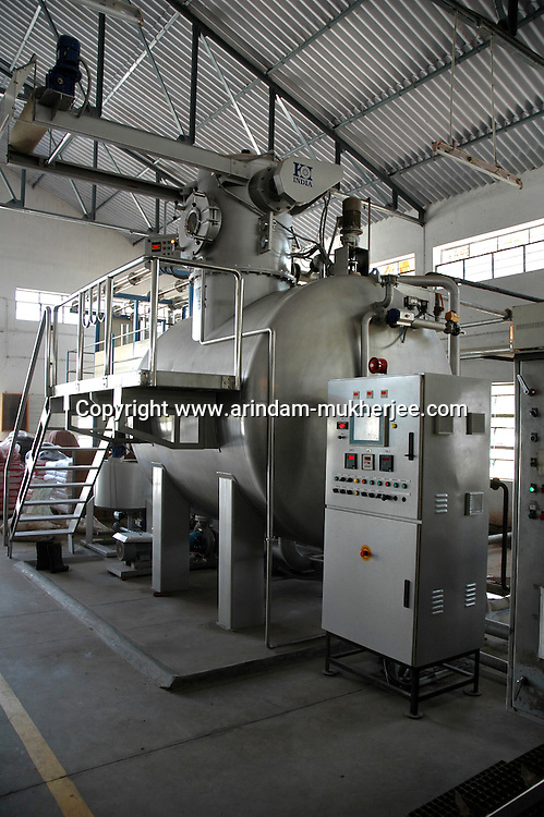 Soft flow dyeing machine made in India at Prem Industry's dyeing factory  in Tirupur, Tamilnadu. India is now producing international quality dyeing machine at a cheaper price. After lifting of quota system in textile export on 1st january 2005. Tirupur has become the biggest foreign currency earning town of India.