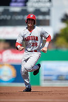 Auburn Doubledays left fielder Pablo O'Connor (28) runs the bases during a game against the Batavia Muckdogs on September 3, 2018 at Dwyer Stadium in Batavia, New York.  Auburn defeated Batavia 8-5.  (Mike Janes/Four Seam Images)