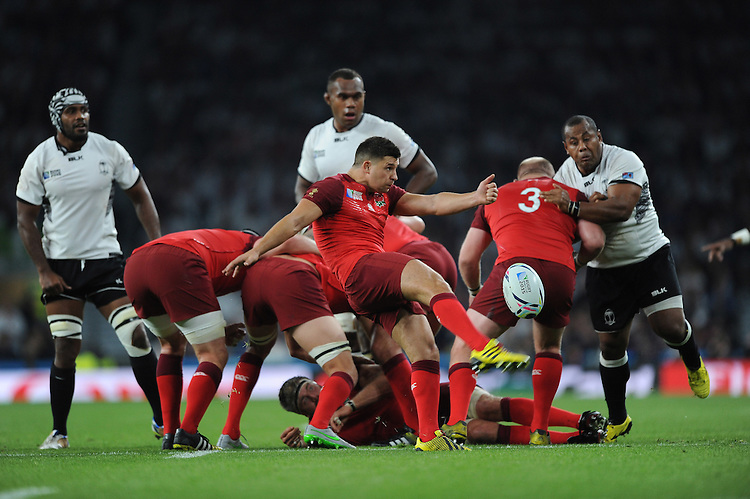 Ben Youngs of England sends up a box kick during Match 1 of the Rugby World Cup 2015 between England and Fiji - 18/09/2015 - Twickenham Stadium, London <br /> Mandatory Credit: Rob Munro/Stewart Communications