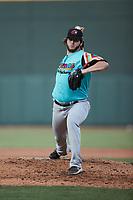 Llamas de Hickory pitcher Justin Slaten (27) in action against the Winston-Salem Rayados at Truist Stadium on July 6, 2021 in Winston-Salem, North Carolina. (Brian Westerholt/Four Seam Images)
