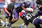 TCU Horned Frogs linebacker Jonathan Anderson (41) in action during the game between the Kansas Jayhawks and the TCU Horned Frogs  at the Amon G. Carter Stadium in Fort Worth, Texas. TCU defeats Kansas 27 to 17.