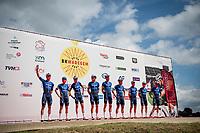 Team Deceuninck - QuickStep presentation at the race start in the Waregem Hippodrome <br /> <br /> Belgian National Championships 2021 - Road Race<br /> <br /> One day race from Waregem to Waregem (221km)<br /> <br /> ©kramon