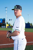 Hillsboro Hops pitcher Travis Moths (10) poses for a photo before a Northwest League game against the Salem-Keizer Volcanoes at Ron Tonkin Field on September 1, 2018 in Hillsboro, Oregon. The Salem-Keizer Volcanoes defeated the Hillsboro Hops by a score of 3-1. (Zachary Lucy/Four Seam Images)