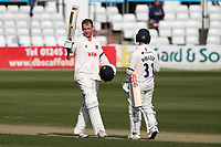 Tom Westley of Essex celebrates reaching a double hundred, 200 runs during Essex CCC vs Worcestershire CCC, LV Insurance County Championship Group 1 Cricket at The Cloudfm County Ground on 9th April 2021