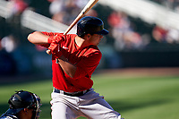 Boston Red Sox Nick Yorke (80) bats during a Major League Spring Training game against the Atlanta Braves on March 7, 2021 at CoolToday Park in North Port, Florida.  (Mike Janes/Four Seam Images)