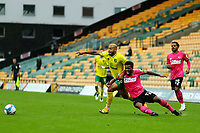 3rd October 2020; Carrow Road, Norwich, Norfolk, England, English Football League Championship Football, Norwich versus Derby; Onel Hernandez of Norwich City fouls Louie Sibley of Derby County