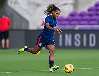 ORLANDO, FL - FEBRUARY 21: Catarina Macario #11 of the USWNT warms up before a game between Brazil and USWNT at Exploria Stadium on February 21, 2021 in Orlando, Florida.