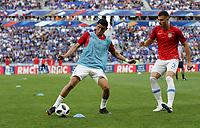 Lyon, France - Saturday June 09, 2018: Joe Corona, Matt Miazga during an international friendly match between the men's national teams of the United States (USA) and France (FRA) at Groupama Stadium.