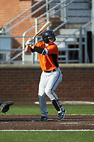 Ryan McKenna (10) of the Frederick Keys at bat against the Buies Creek Astros at Jim Perry Stadium on April 28, 2018 in Buies Creek, North Carolina. The Astros defeated the Keys 9-4.  (Brian Westerholt/Four Seam Images)