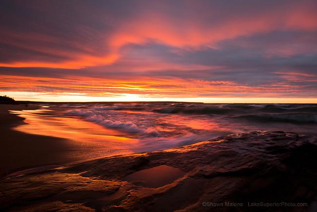 Miner's Beach Sunset, Pictured Rocks National Lakeshore, Munising Michigan