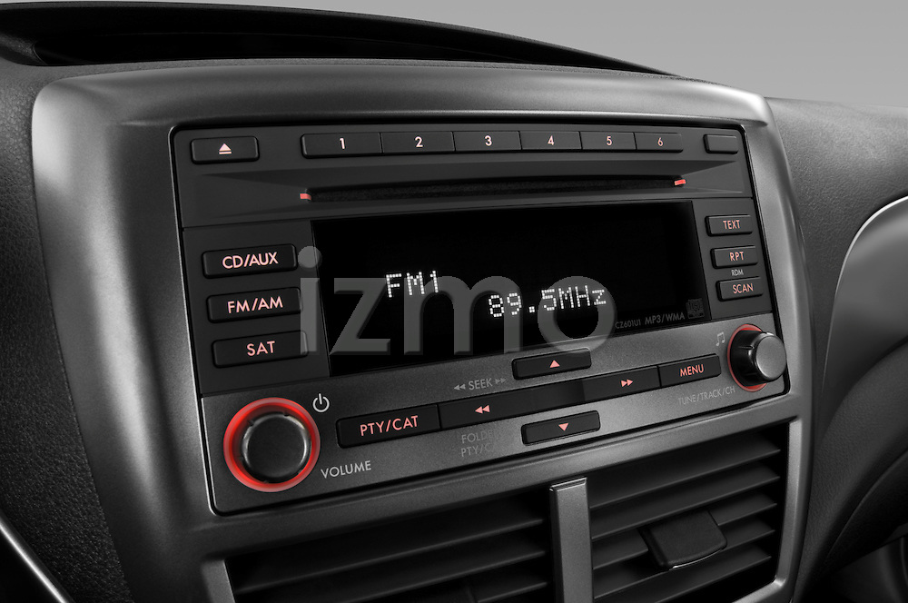 Stereo audio system close up detail view of a 2009 Subaru Impreza Wagon WRX
