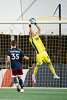 FOXBOROUGH, MA - SEPTEMBER 04: Joe Rice #51 of New England Revolution II saves a looping shot at goal during a game between Forward Madison FC and New England Revolution II at Gillette Stadium on September 04, 2020 in Foxborough, Massachusetts.