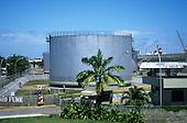 Joao Pessoa, Brazil. Petrol storage distribution depot with the docks behind.