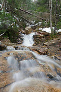Crawford Notch State Park - The top section Kedron Flume on Kedron Brook in Hart's Location, New Hampshire during the spring months. The Kedron Flume Trail crosses this brook.