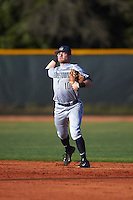 Georgetown Hoyas second baseman Jake Bernstein (10) throws to first base during a game against the Chicago State Cougars on March 3, 2017 at North Charlotte Regional Park in Port Charlotte, Florida.  Georgetown defeated Chicago State 11-0.  (Mike Janes/Four Seam Images)
