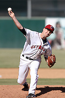 Andrew Robinson#26 of the Lancaster JetHawks pitches against the Lake Elsinore Storm at Clear Channel Stadium on April 15, 2012 in Lancaster,California. Lake Elsinore defeated Lancaster 7-5.(Larry Goren/Four Seam Images)