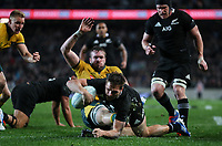 George Bridge scores during the Bledisloe Cup Rugby match between the New Zealand All Blacks and Australia Wallabies at Eden Park in Auckland, New Zealand on Saturday, 17 August 2019. Photo: Simon Watts / lintottphoto.co.nz