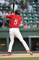 Center fielder Cole Brannen (5) of the Greenville Drive bats in a game against the Charleston RiverDogs on Friday, April 27, 2018, at Fluor Field at the West End in Greenville, South Carolina. Greenville won, 5-4. (Tom Priddy/Four Seam Images)