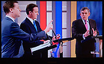 The First Television Election Debate  Nick Clegg  David Cameron Gordon Brown April 15th 2010. Manchester England