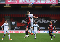 31st October 2020; Vitality Stadium, Bournemouth, Dorset, England; English Football League Championship Football, Bournemouth Athletic versus Derby County; Martyn Waghorn of Derby County competes in the air with Adam Smith of Bournemouth